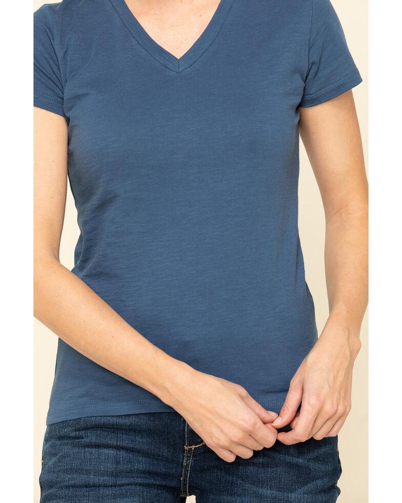 Dovetail Workwear Women's Navy Solid V-Neck Work Tee, Medium Blue, hi-res