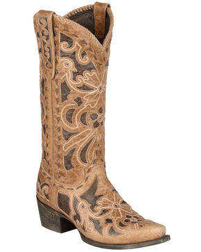 Lane Robin Cowgirl Boots - Snip Toe, Tan, hi-res