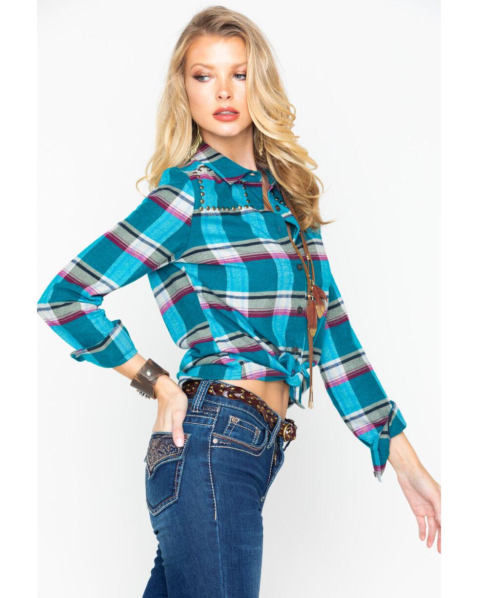 Shyanne Women's Plaid Studded Flannel Shirt, Teal, hi-res