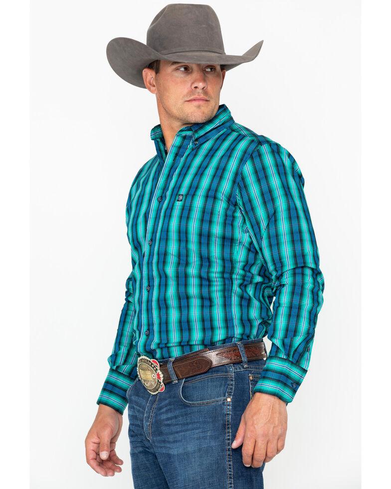 Wrangler Men's Royal Blue Paid Performance Long Sleeve Western Shirt, Royal Blue, hi-res