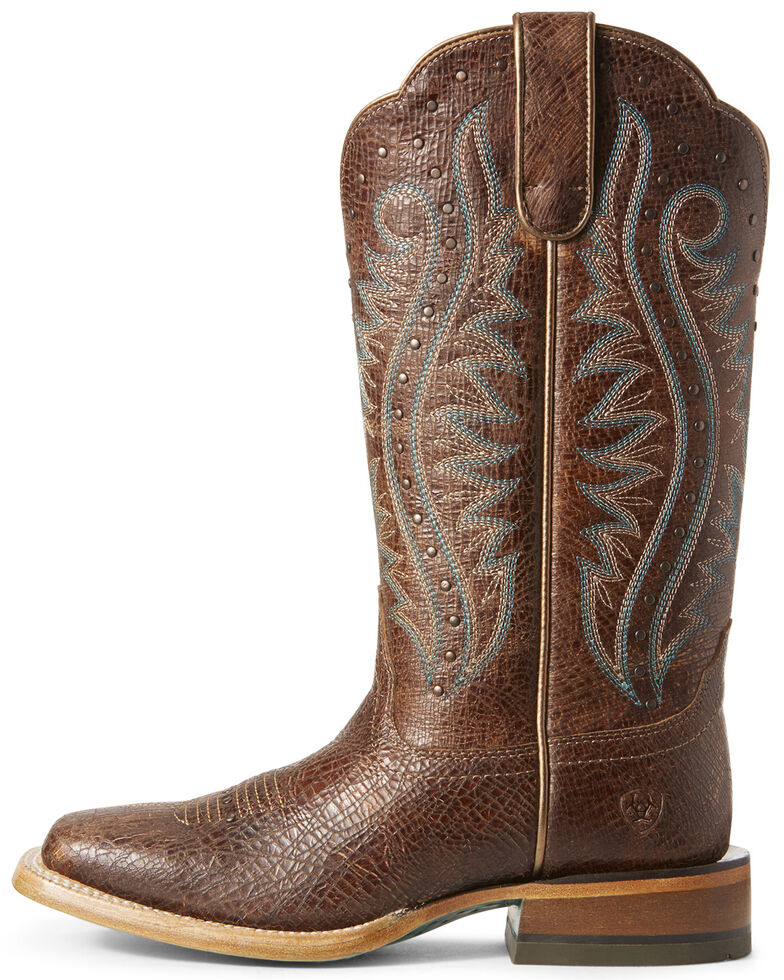 Ariat Women's Montage Crackle Western Boots - Wide Square Toe, Brown, hi-res