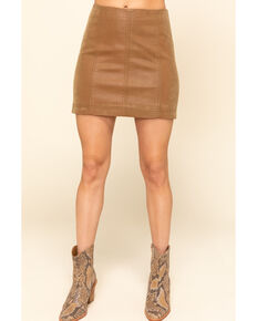 Free People Women's Chestnut Modern Femme Vegan Mini Skirt , Chestnut, hi-res