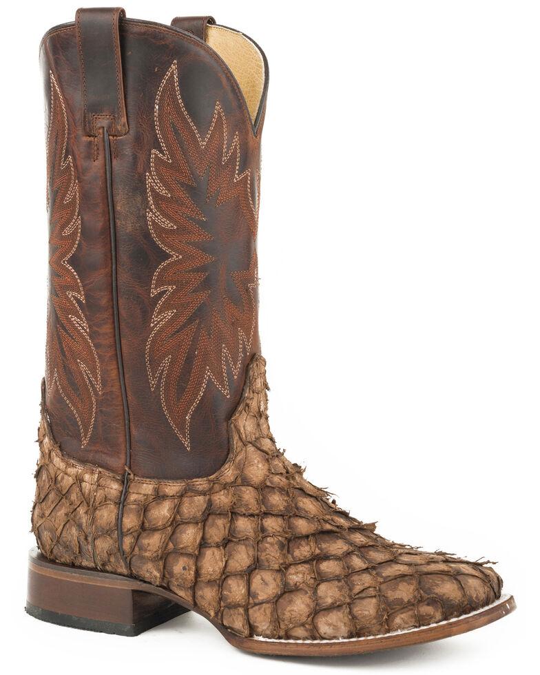 Stetson Men's Brown Predator Pirarucu Fish Boots - Square Toe , , hi-res