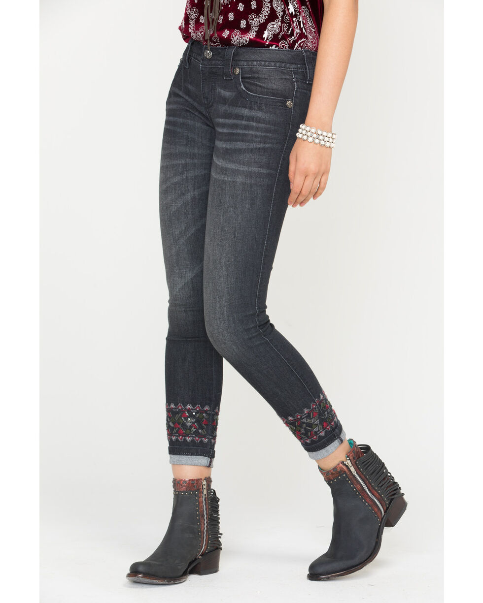 Miss Me Women's Distressed Black Skinny Cuffs Jeans, Black, hi-res