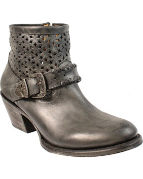 Corral Women's Cutout and Buckle Ankle Boots - Medium Toe , Black, hi-res