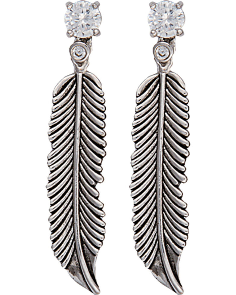 Montana Silversmiths Women's Feather Stud Earrings, Silver, hi-res