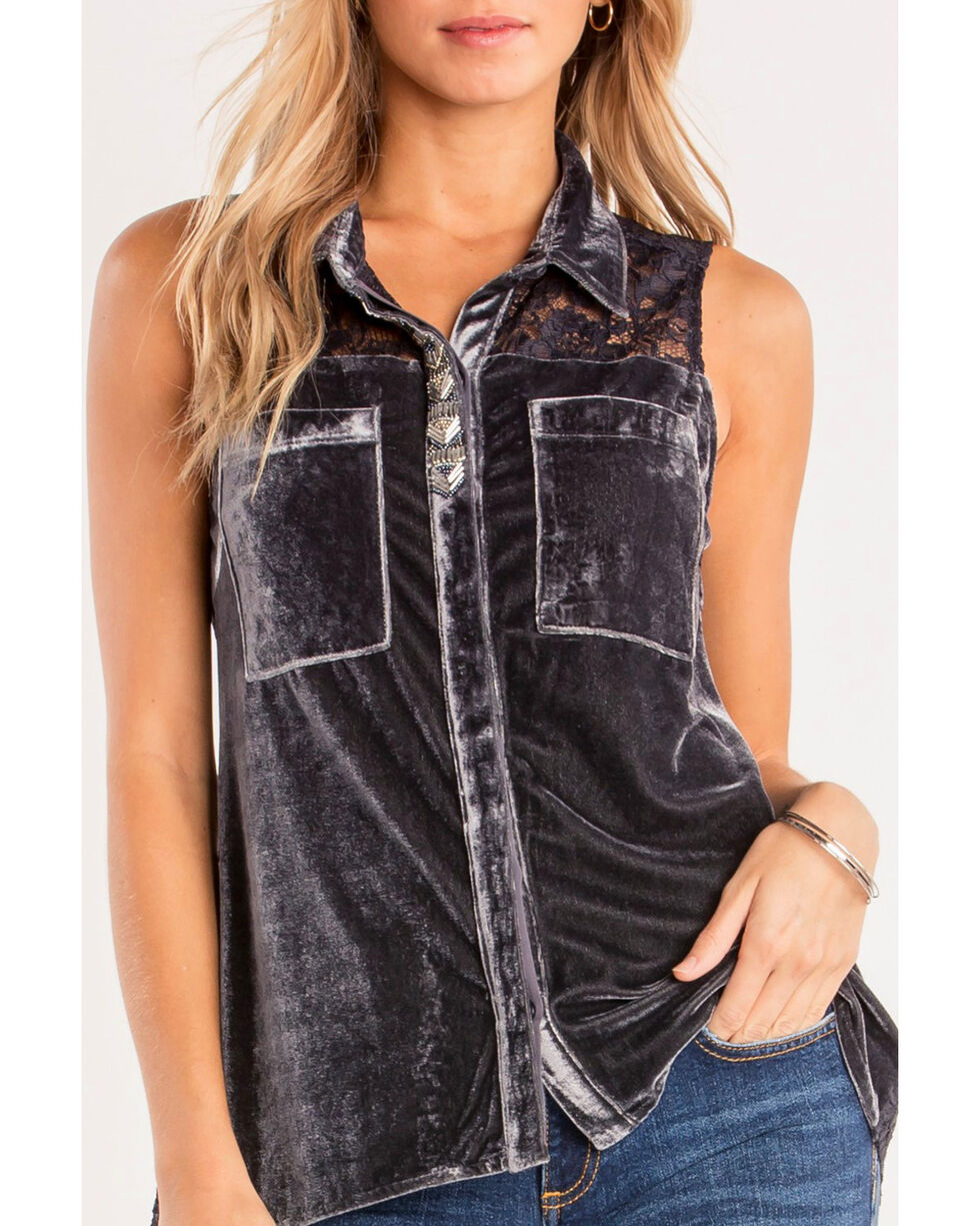 Miss Me Women's Charcoal Crush On You Top , Charcoal, hi-res