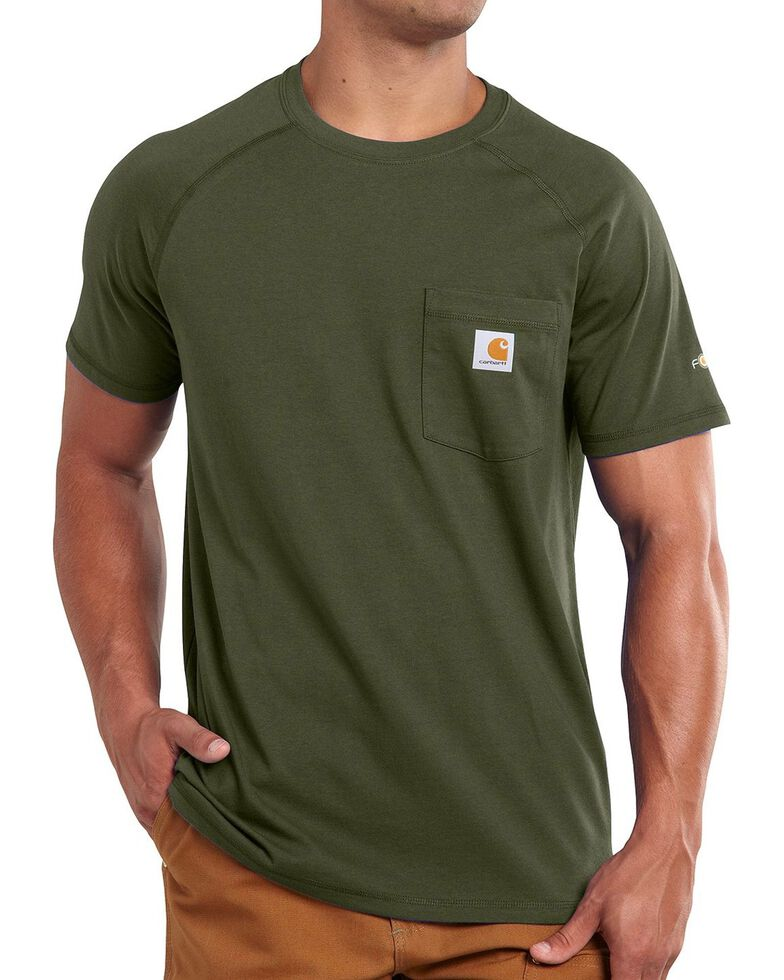 Carhartt Force Cotton Short Sleeve Shirt, Moss, hi-res