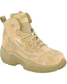"Reebok Men's Stealth 6"" Lace-Up with Side-Zip Tactical Work Boots - Composite Toe, Desert Khaki, hi-res"