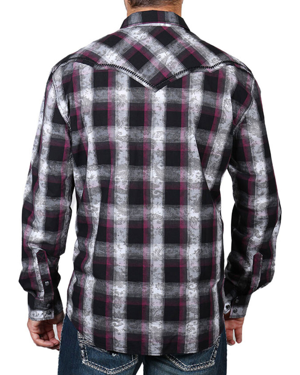 Moonshine Spirit® Men's Paisley Plaid Long Sleeve Shirt, Multi, hi-res