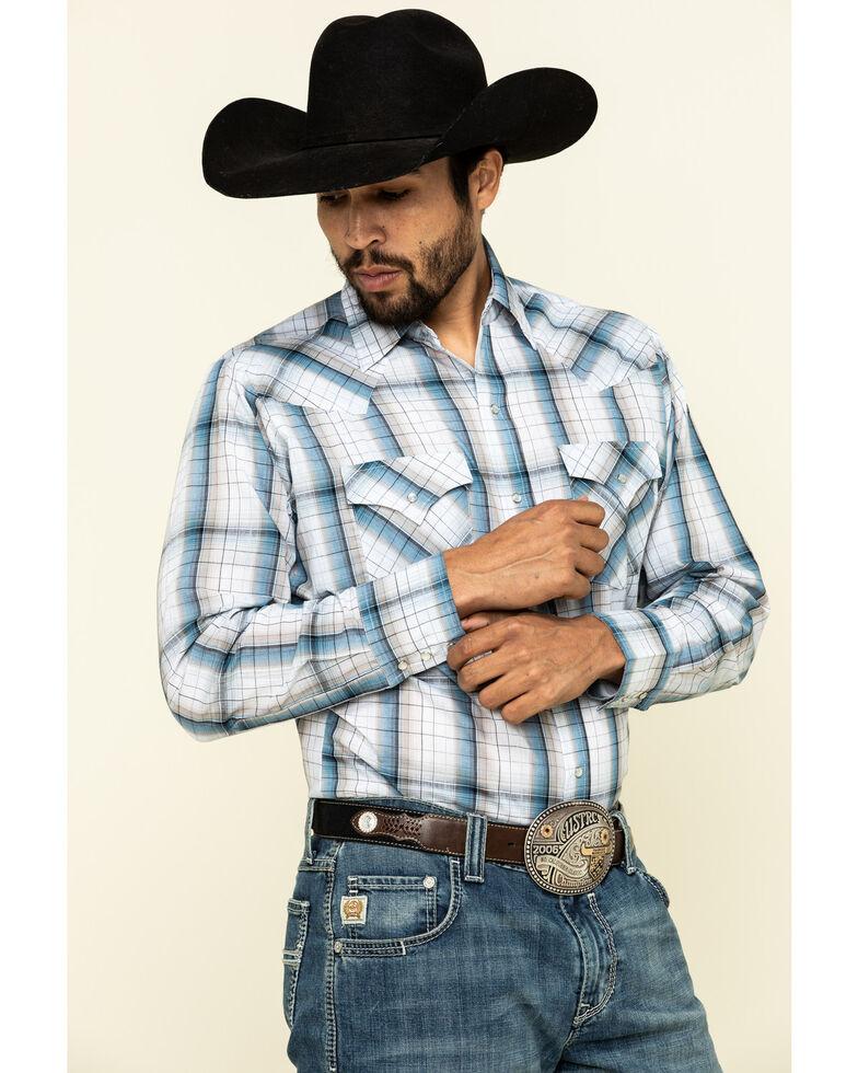 Ely Cattleman Men's Rust Copper / Blue Small Plaid Long Sleeve Western Shirt , Blue, hi-res