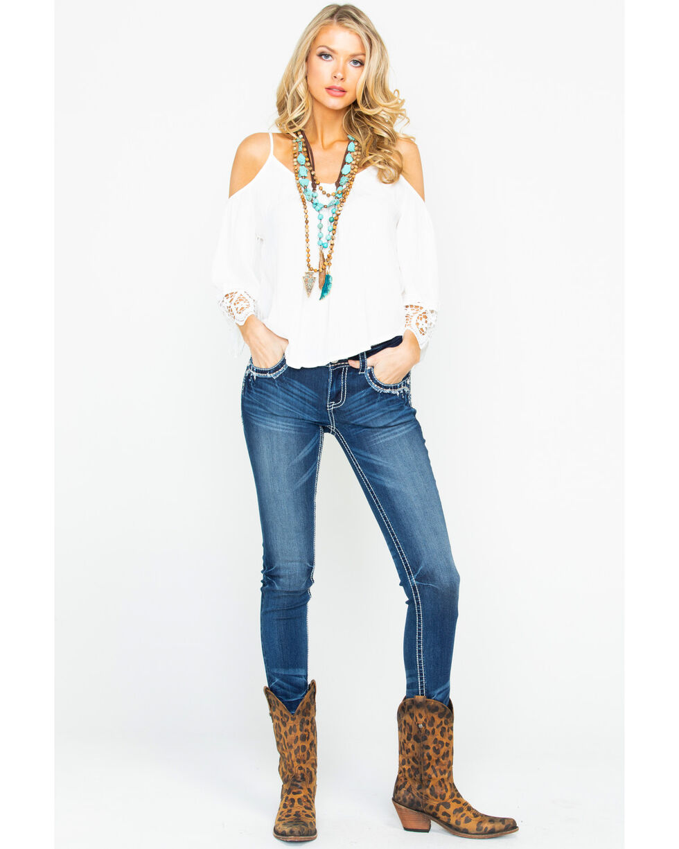 Panhandle Women's 3/4 Sleeve Cold Shoulder Lace Long Sleeve Top, Ivory, hi-res
