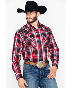 559278ebac5 Ely Cattleman Men s Embroidered Plaid Long Sleeve Western Shirt