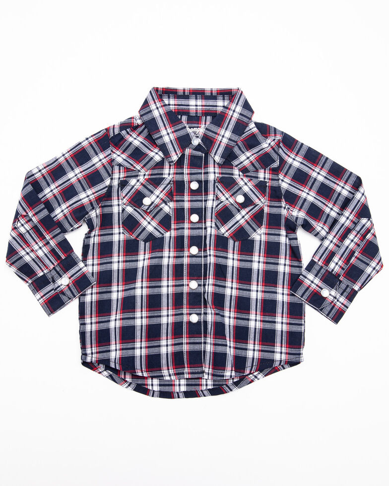 Wrangler Toddler Boys' Navy Plaid Long Sleeve Western Shirt , Red, hi-res