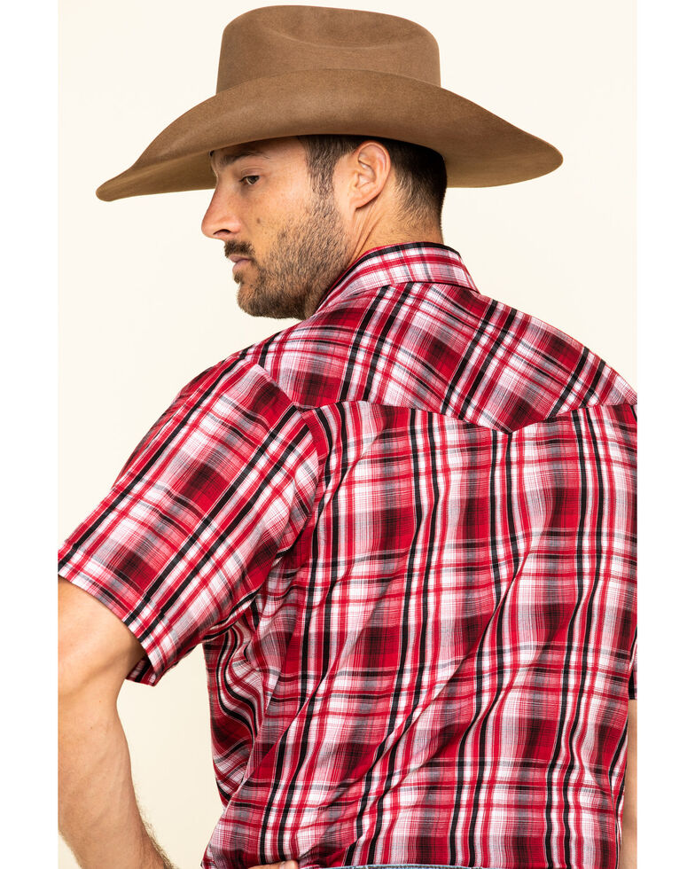 Ely Cattleman Men's Red Med Plaid Short Sleeve Western Shirt , Red, hi-res