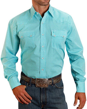 Stetson Men's Pattern Long Sleeve Shirt, Turquoise, hi-res