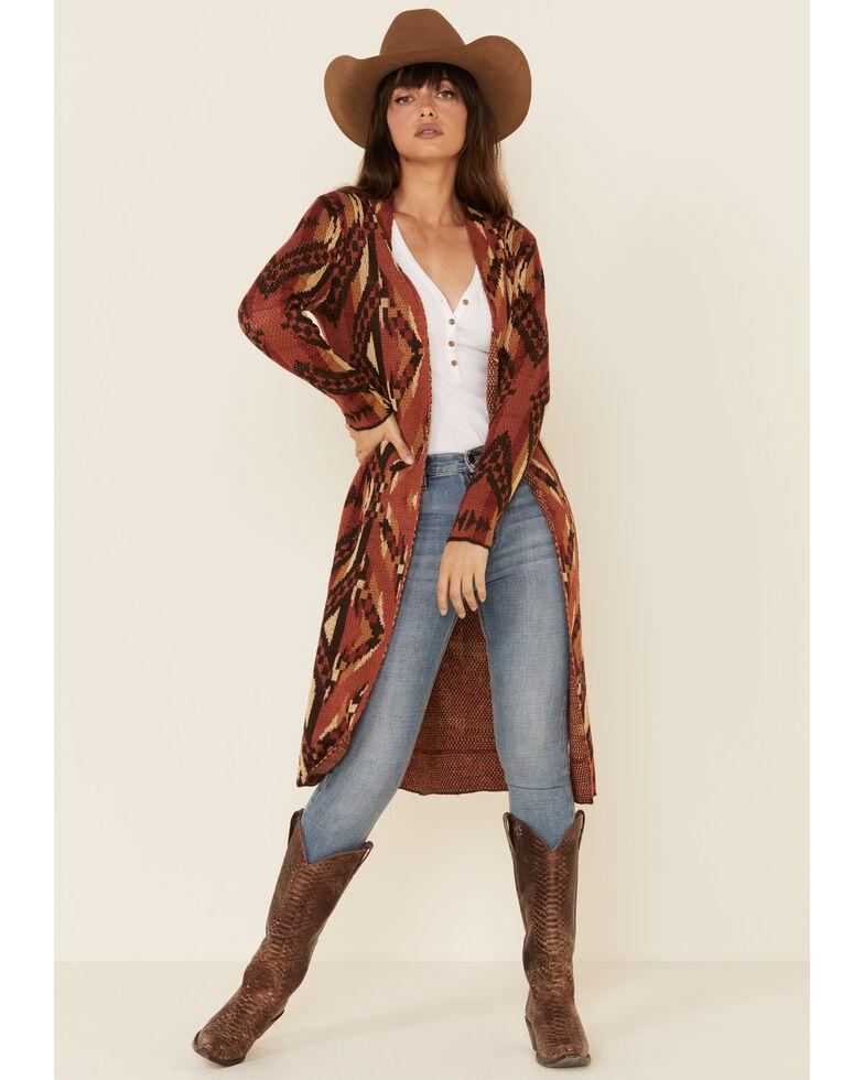Rock & Roll Cowgirl Women's Rust Aztec Sweater Duster , Rust Copper, hi-res