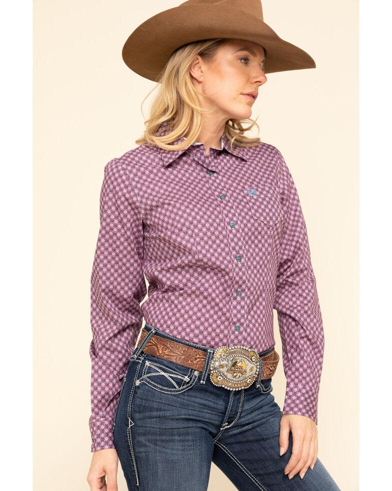 Cinch Women's Purple Tile Print Button Long Sleeve Western Shirt, Purple, hi-res