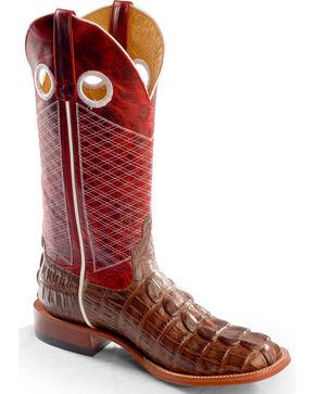 Horse Power Men's Caiman Print Western Boots, Chocolate, hi-res