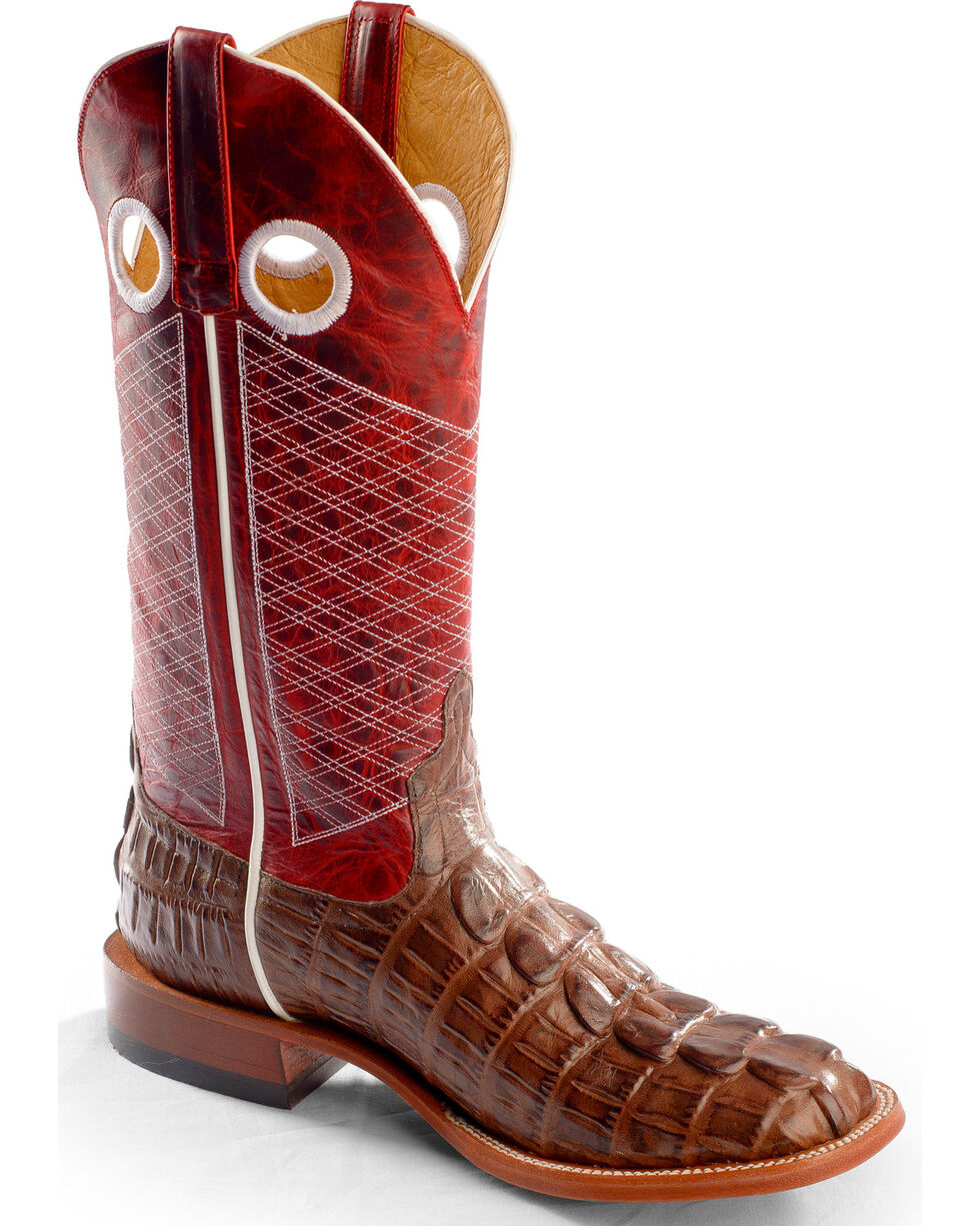 Horse Power Men's Caiman Print Western Boots, Chocolate, hi-res