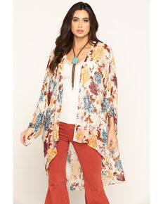 Band of Gypsies Women's Ivory Floral Chiffon Kimono , Ivory, hi-res