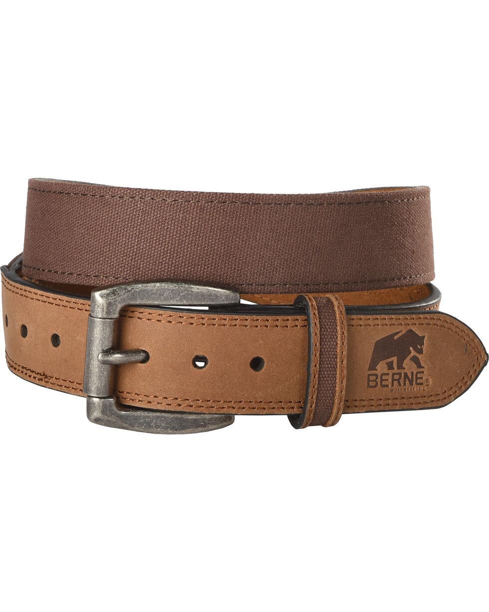 Berne Men's Canvas Strap Leather Belt , Brown, hi-res