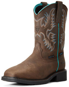 Ariat Women's Krista Waterproof Western Work Boots - Steel Toe, Brown, hi-res