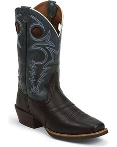 Justin Men's Silver Collection Square Toe Western Boots, Black, hi-res