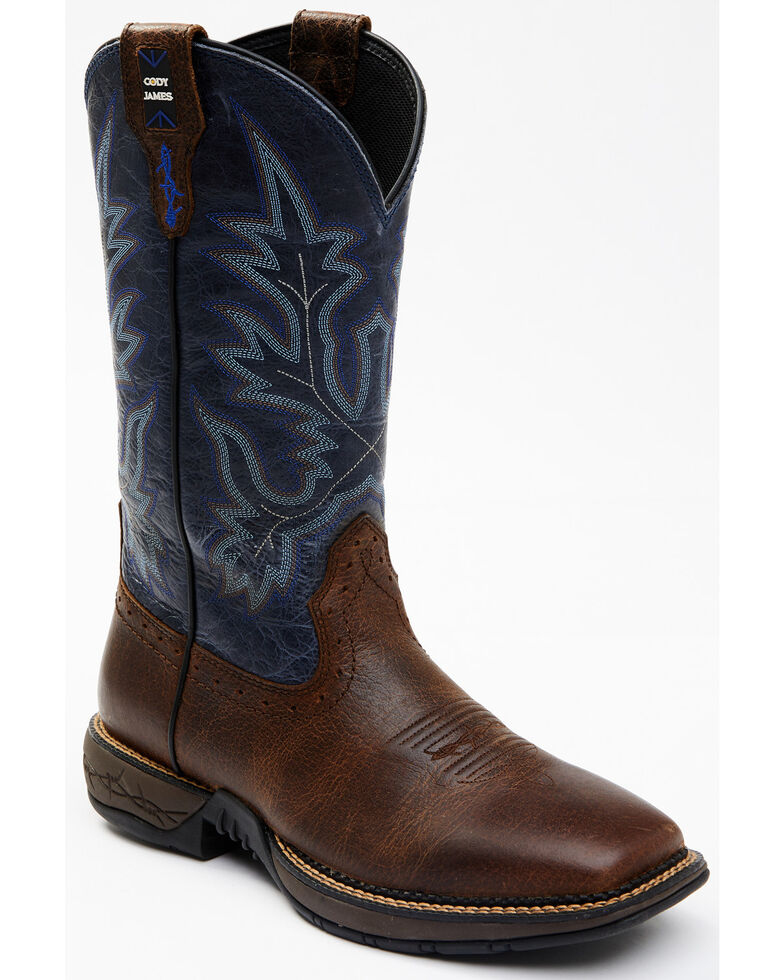Cody James Men's Punchy Western Boots - Wide Square Toe, Blue, hi-res