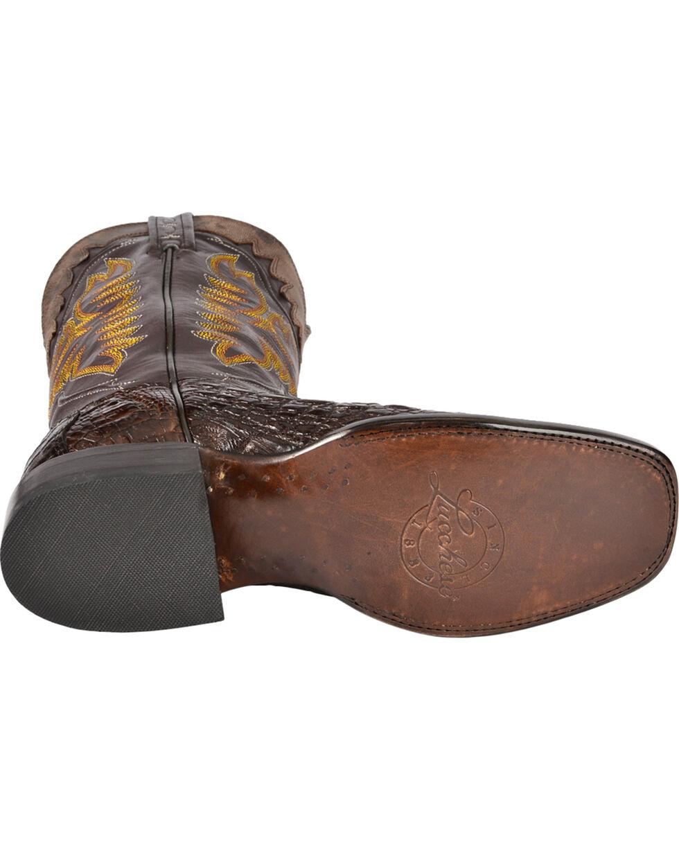 Lucchese Men's Rhys Hornback Caiman Exotic Western Boots, Barrel Brn, hi-res