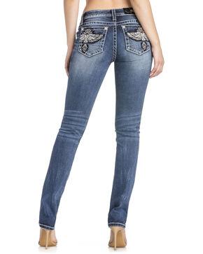 MIss Me Women's Eagle Pocket Straight Leg Jeans, Indigo, hi-res