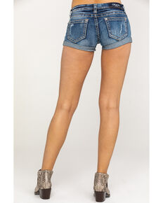 Grace in LA Women's Dark Clean Rolled Hem Shorts, Blue, hi-res