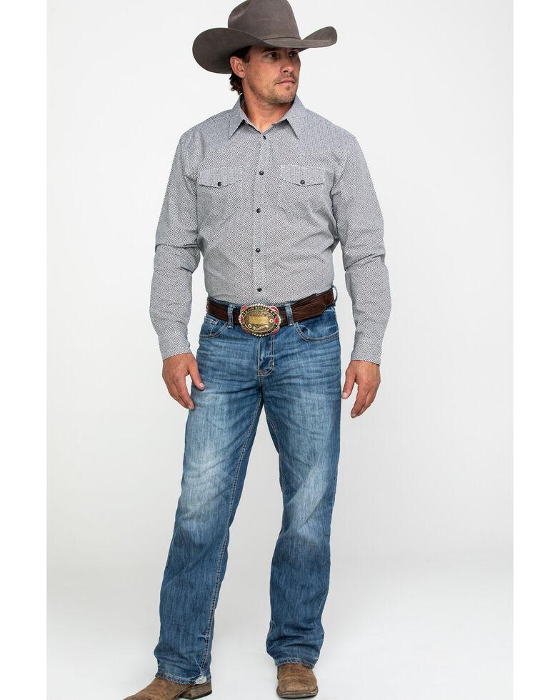 Gibson Men's Snake Belly Geo Print Long Sleeve Western Shirt , White, hi-res