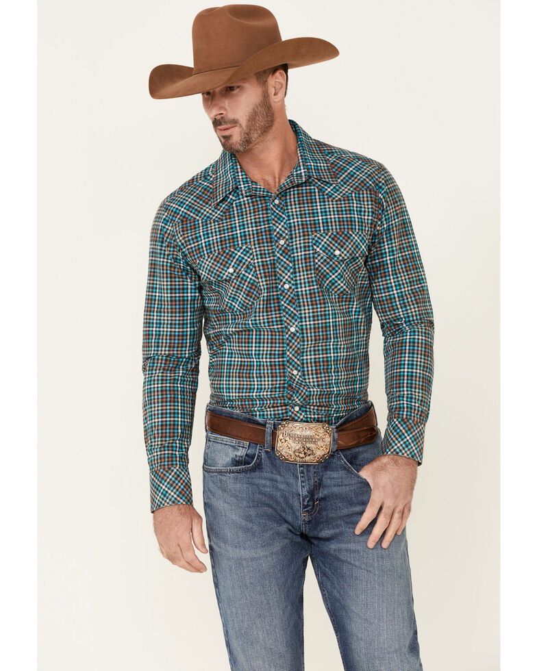 Rock & Roll Denim Men's Gingham Check Plaid Long Sleeve Snap Western Shirt , Brown, hi-res