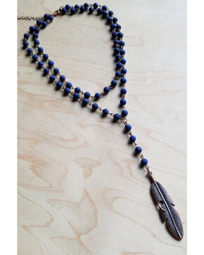 Jewelry Junkie Women's Double Strand Lariat Frosted Blue Lapis Feather Necklace, Blue, hi-res