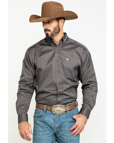 Ariat Men's Grey Team Logo Twill Long Sleeve Western Shirt , Grey, hi-res