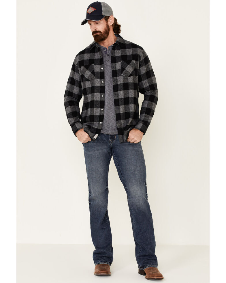 Flag & Anthem Men's Black Harrells Plaid Long Sleeve Western Flannel Shirt , Black, hi-res