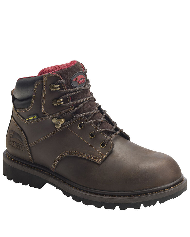 "Avenger Men's 6"" Waterproof Work Boots - Soft Toe, Brown, hi-res"