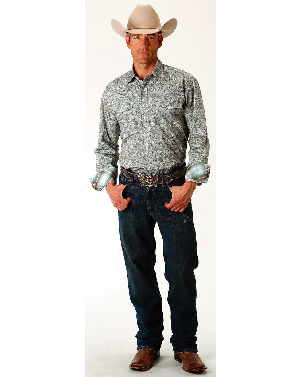 Roper Men's Sage Brush Paisley Long Sleeve Western Snap Shirt, Grey, hi-res