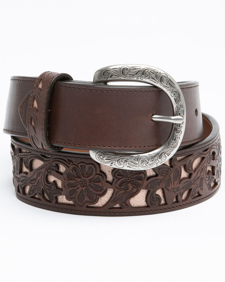 Shyanne Women's Dark Tan Floral Cut Out Underlay Western Belt , Tan, hi-res