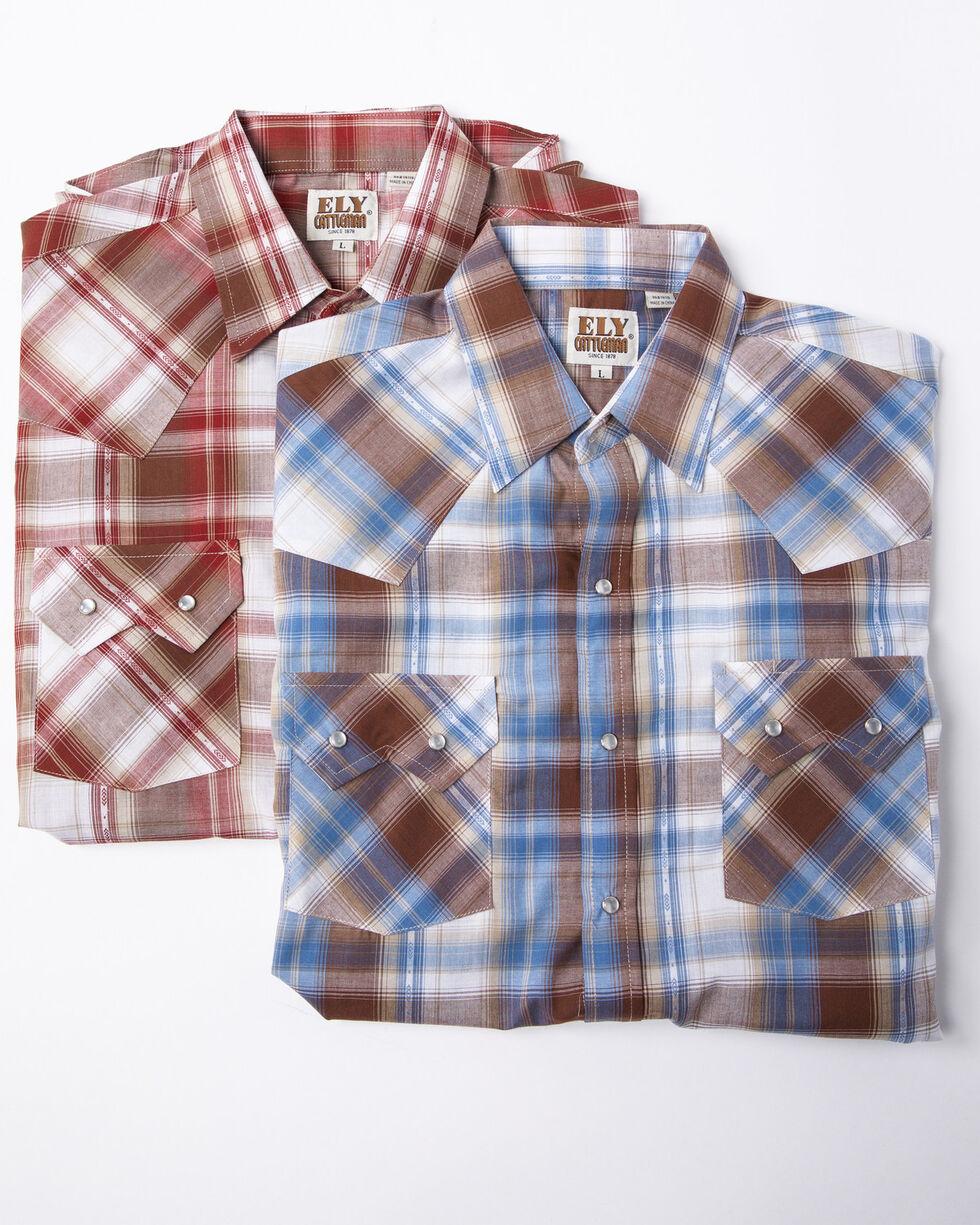 Ely Cattleman Men's Assorted Dobby Plaid Short Sleeve Western Shirt , Multi, hi-res