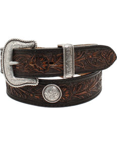 Nocona Men's Pendleton Floral Embossed Concho Leather Belt, Black, hi-res