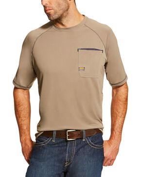 Ariat Men's Rebar Sun Stopper Short Sleeve Shirt, Beige/khaki, hi-res