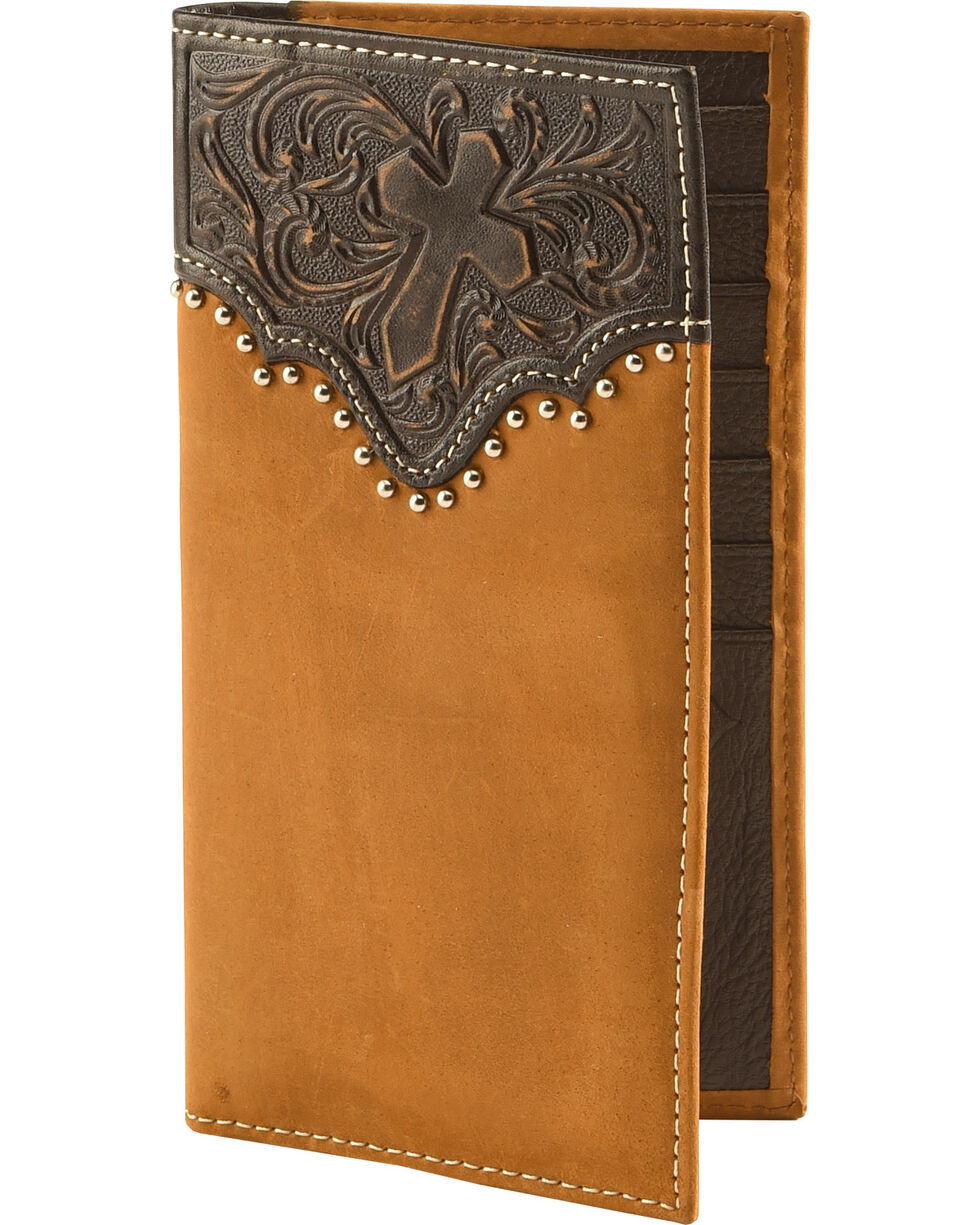 Cody James® Men's Tooled Cross Wallet, Brown, hi-res