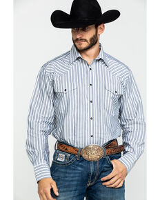 Rock & Roll Cowboy Men's Calistoga Dobby Plaid Long Sleeve Western Shirt , White, hi-res