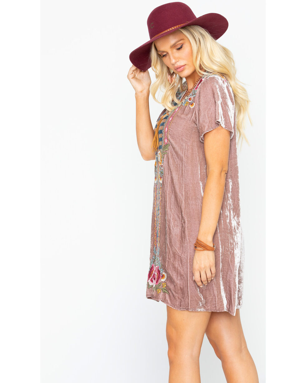Johnny Was Women's Cherelle Flutter Sleeve Tunic Dress, Mauve, hi-res