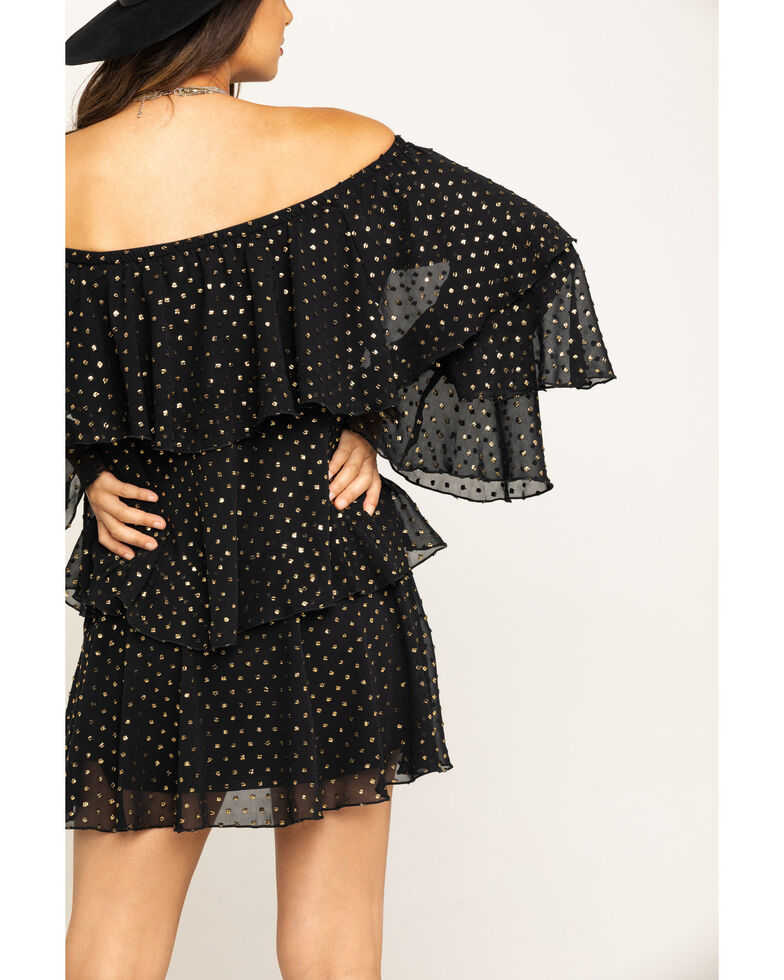 Show Me Your Mumu Women's Chicka Chicka Goldie Dot Dress, Black, hi-res