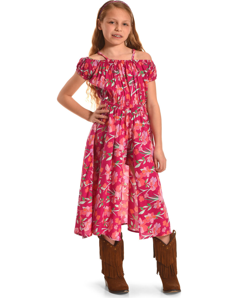 Derek Heart Girls' Coral Cold Shoulder Maxi Walk-Thru Dress , Coral, hi-res