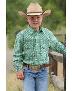 Cinch Boys' Green Plaid Snap Long Sleeve Western Shirt , Green, hi-res