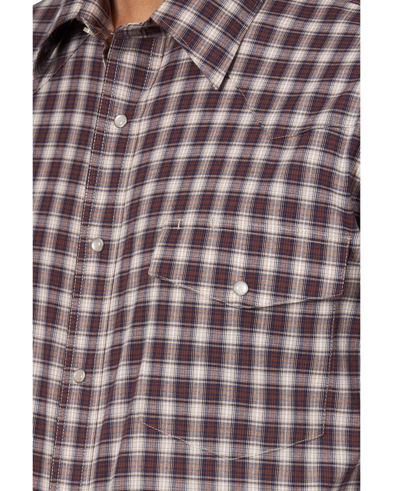 Wrangler Men's Wrinkle Resist Med Plaid Long Sleeve Western Shirt , Beige/khaki, hi-res